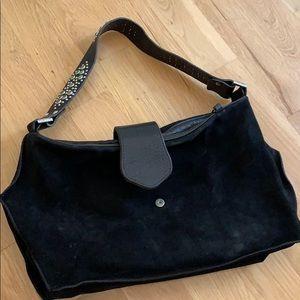 Tylie Malibu black suede shoulder purse bling